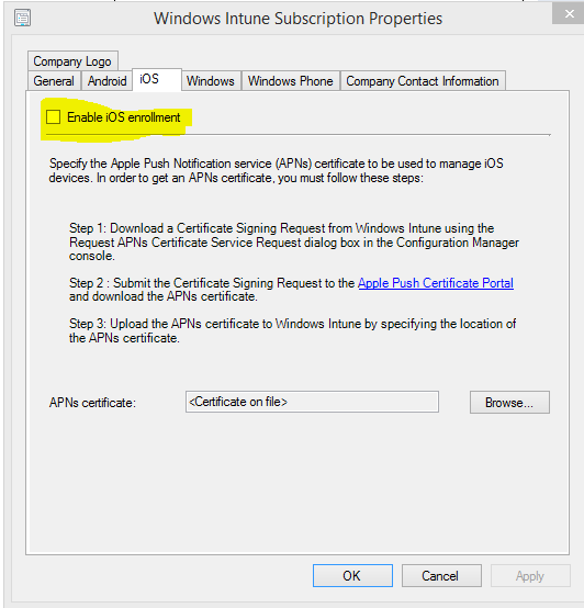 iOS devices APN certificate request error when signing to Intune ...